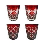 Faux - Handmade Cut Glass Garnet Colored Tumblers Set Of 4 - 2 x Barley + 2 x Monogram GLS-BLY-MNG-4