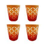 Faux - Handmade Cut Glass Citrus Orange Coloured Tumblers Set Of 4 - Monogram