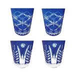 Faux - Handmade Cut Glass Cobalt Blue Colored Tumblers Set Of 4 - 2 x Star Rising + 2 x Fern GLS-SR-FN-4