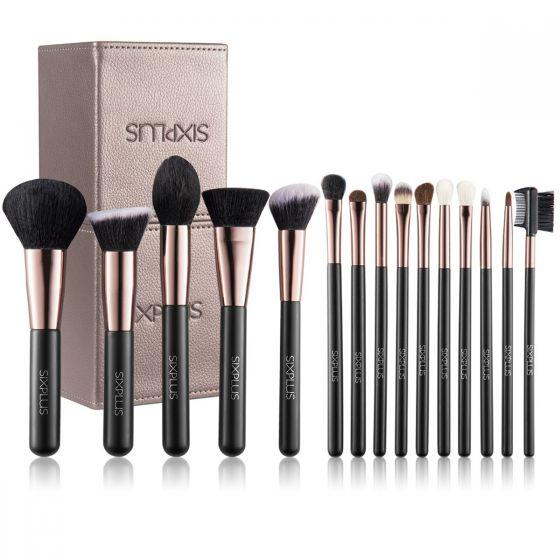 SIXPLUS 魅力(GLAMOR)系列-15支咖啡色化妝掃套裝