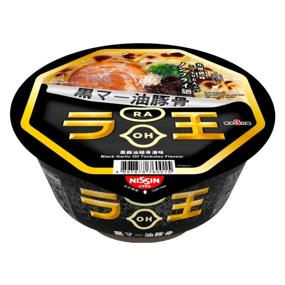 日清 - 拉王非油炸碗麵 黑蒜油豬骨湯味[原箱] 1067-004-101