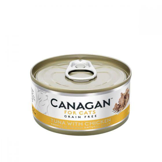 Cangan - 吞拿魚伴雞肉 無穀物貓罐頭 75g (原箱12罐) Can-WetTunaChick