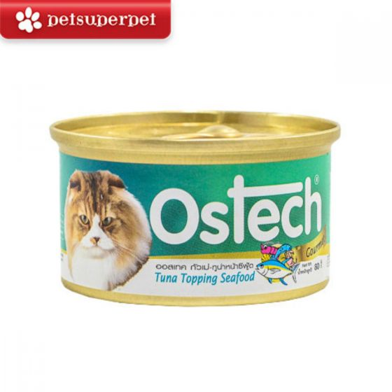 Ostech - 【原箱優惠】泰國吞拿魚 + 海鮮貓罐 (24罐) - 80g x 24 CDOSSF24M168