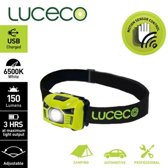 Luceco - LED 3W PIR感應頭燈 USB 充電 LILH15P65 人體紅外線感應器 150流明 可調角度 露營燈 行山 工作燈 LU-LILH15P65