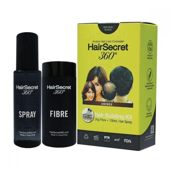 HairSecret 360 - 增髮纖維 套裝 - 自然黑色