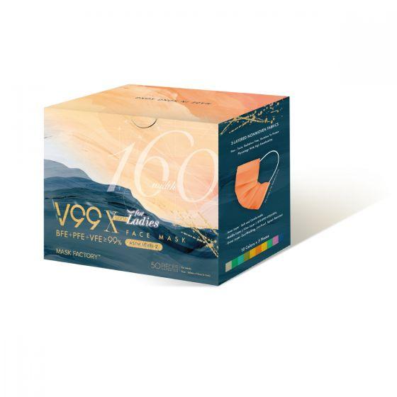 口罩工廠 - V99 X 160mm 女士口罩 (10色) (耳繩) MF-1012LXT-A50V