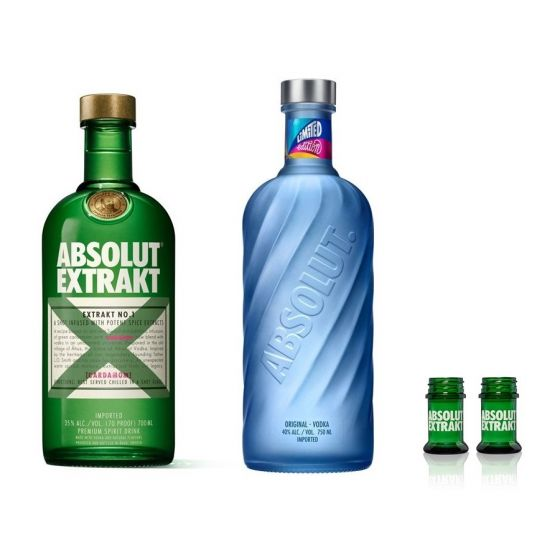 ABSOLUT - Extrakt 700ml x 1 支 + ABSOLUT Vodka 限量特別版2020 750ml x 1 支 (送 Shot 杯兩隻) MOOV-ABS-Set
