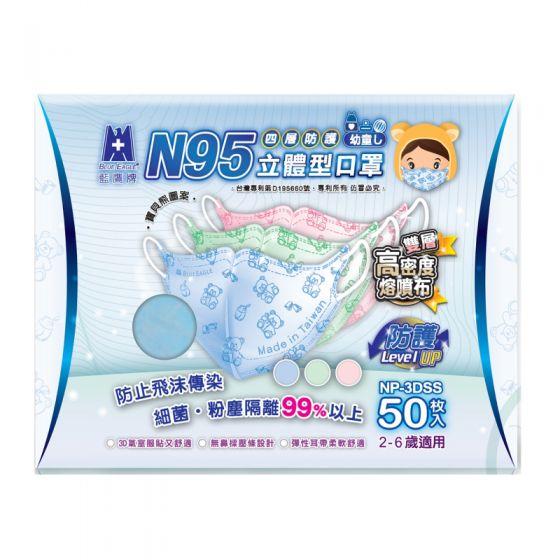 藍鷹牌 3D 立體型幼童N95口罩(2-6歲) (50枚入) - 粉紅色 NP-3DSS50PINK_2