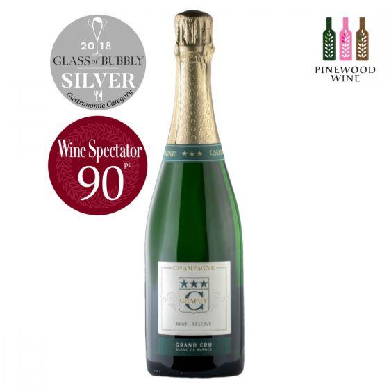 查普王珍藏白中白香檳 Chapuy Brut Reserve, Blanc de Blancs, Grand Cru  WS 90 (兩款包裝, 隨機發貨)