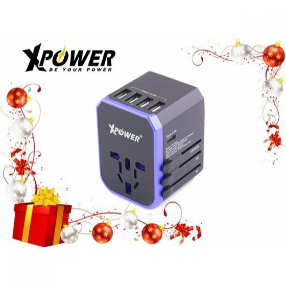 XPower TA5C 28W Type-C 旅行充電轉插 (黑藍色) XP-TA5C-BKBL