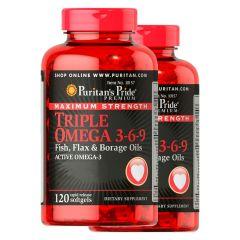 Puritan's Pride - 2 bottles - Maximum Strength Triple Omega 3-6-9 Fish