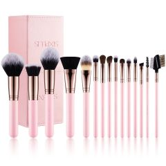 SIXPLUS 15Pcs Pink Makeup Brush Set 102191