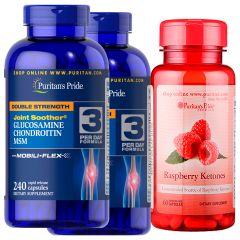 Puritan's Pride 2樽 - Joint Soother® 雙倍強效葡萄糖胺、軟骨素、MSM膠囊配方 240粒 (有效日期: 7/20)送1樽 覆盆子酮100毫克60粒 [有效日期 6/2020] 12786X2-51507