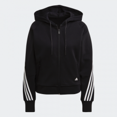 adidas Women Badge Of Sports W Fi 3s Fz Hd Hooded Track Top Black