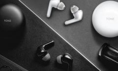 LG TONE Free Wireless Earbuds / Active Noise Cancellation / Spiral Design - Black / White (HBS-FN7)
