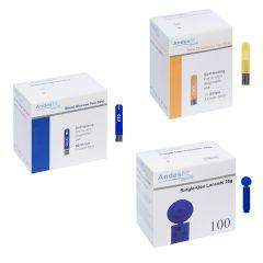 Andesfit 測試紙組合:100片血糖測試紙+10片膽固醇測試紙+100粒採血針