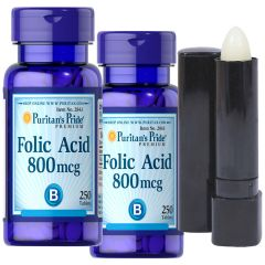 Puritan's Pride - 2x Folic Acid 800 mcg 250s Free Lip Protector with Vitamin E 1 oz 2843X2-2419