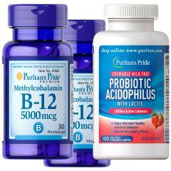 Puritan's Pride - 2x Methylcobalamin Vitamin B-12 5000 mcg 30s +1xProbiotic Acidophilus Chewables Strawberry 32860X2-5721