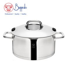 Buffalo - WISE COOK STAINLESS STEEL 24CM CASSEROLE WITH STAINLESS STEEL LID & GLASS ON TOP (33924SS) 33924SS