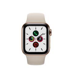 APPLE WATCH SERIES 5 (GPS + 流 動 網 絡) 金 色 不 鏽 鋼 錶 殼 配 石 色 運 動 錶 帶 AWS5-GD-STL-ST-BD