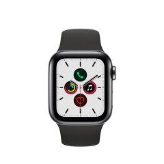 APPLE WATCH SERIES 5 (GPS + 流 動 網 絡) 太 空 黑 不 鏽 鋼 錶 殼 配 黑 色 運 動 錶 帶 AWS5-SPBL-STL-BL-BD