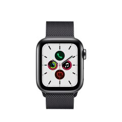 APPLE WATCH SERIES 5 (GPS + 流 動 網 絡) 太 空 黑 不 鏽 鋼 錶 殼 配 太 空 黑 鋼 織 手 環 AWS5-SPBL-STL-LP