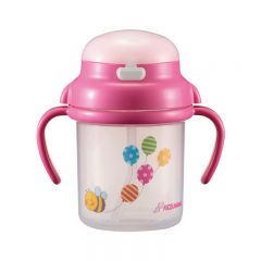 KIDS&MAMA - Baby Straw Cup 270ml - Pink 4573336180464