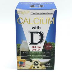 Exlife - calcium with vitamin D 600mg 60Tablets 4897000467096