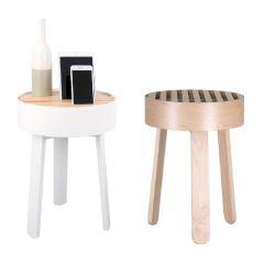 muemma - TRELLIS 型格多功能邊桌 (白色/楓木色) 4TRE-TABLE-MO