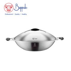 Buffalo - Spacious 36CM 5-Ply Flat Bottom Wok with Stainless Steel Lid (556436A) 556436A