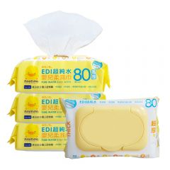 PiYO PiYO 黃色小鴨 - EDI 超純水嬰兒濕紙巾-80抽/3盒 88118_3PACKS