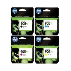 HP - No.905XL 原廠高容量墨水盒套裝 (黑色 T6M17AA+黃色 T6M13AA+洋紅 T6M09AA+綻藍 T6M05AA)