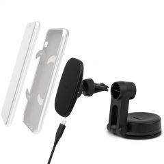 Moshi - SnapTo™ 磁吸無線充電手機車用支架 (萬用型) - 黑