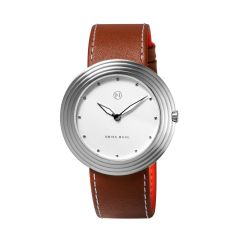 NOVE Streamliner Swiss Made Quartz Watch for Men (46mm Brown White A004-01) A004-01