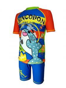 Aquasport 鯨鯊短袖防晒套裝 - 藍色/橙色