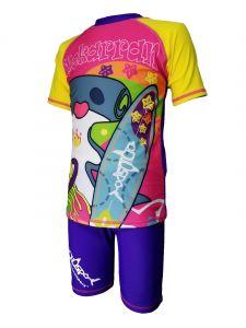 Aquasport 雙髻鯊短袖防晒套裝 - 紫色/黃色