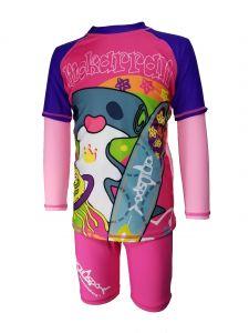 Aquasport 鯨鯊長袖防晒套裝 - 紫色/粉紅色