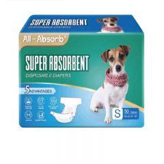 BDDDMFLM150 All-Absorb - 美國高效吸水一次性寵物紙尿褲 (雄雌適用) - 尺寸:大碼 (L) [50塊/包]