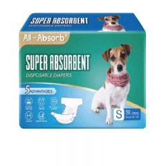 BDDDMFSM120 All-Absorb - 美國高效吸水一次性寵物紙尿褲 (雄雌適用) - 尺寸:細碼 (S) [50塊/包]