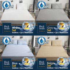 Black Smith - Waterproof Protector II Mattress & Pillow Cover(Single/Double/Double Full/Queen/King Size) (4 colors option) BS_M001_SET