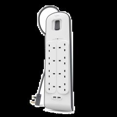 Belkin - 2 USB 充電及8 位防雷保護拖板 - BSV804SA2M (香港行貨) BSV804SA2M