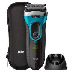Braun Series 3 ProSkin 親膚系列 3080s 充電式乾濕兩用電鬚刨,帶有充電座,高級銀色
