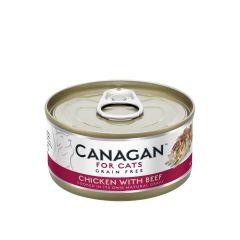 Cangan - 雞肉伴牛肉 無穀物貓罐頭 75g (原箱12罐) Can-WetChickBeef