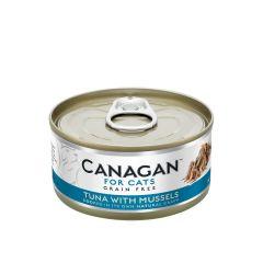Cangan - 吞拿魚伴青口 無穀物貓罐頭 75g (原箱12罐) Can-WetTunaMuss