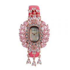 Crisathena - 吊燈系列手錶紫紅色-玫瑰金 CC14-CRPWW-RG