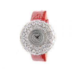 "Crisathena - ""Macaron"" Quartz Watch in Red - Silver CM01-MRWW-WG"