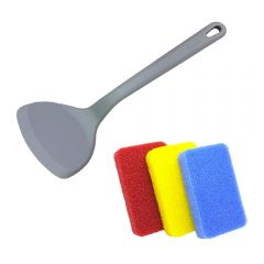 diseno - 矽膠中式鑊鏟和矽膠廚房清潔海綿(3件裝)套裝 CR-HW081314