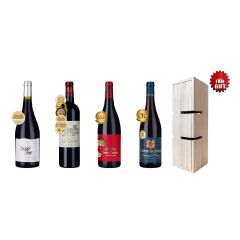4-bottle Awarded French Signature Reds plus Box-shaped Wine Rack CR-LDW-006