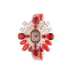 """Crisathena - """"Snow"""" Quartz Watch in Red - Rose Gold CS02-SRRW-RG"""