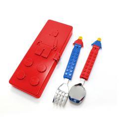 Oxford Creation-積木公仔兒童餐具叉匙套裝(紅色餐盒) CT15SS0015
